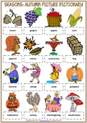 Autumn ESL Printable Picture Dictionary Worksheet For Kids