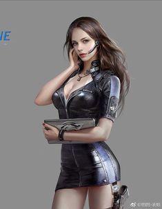 (Male for Female) Cyberpunk Character, Cyberpunk Art, Fantasy Women, Fantasy Girl, Fantasy Warrior, Dark Fantasy, Chica Fantasy, Art Anime, Female Character Design