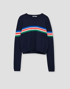 Striped cropped sweater - Knit - Clothing - Woman - PULL&BEAR Romania