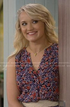 Gabi's purple and red printed top on Young and Hungry.  Outfit Details: https://wornontv.net/56175/ #YoungandHungry