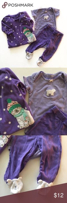 💜CartersBundle💜 Adorable Polar Bear Set by Carter's. Comes with a fleece sleeper, long sleeved Onesie and matching bear feet pants. Super cute! Excellent Used Condition. Carter's Matching Sets