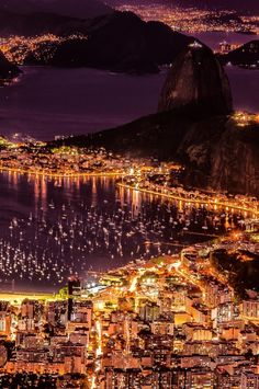 Brazil Rio de Janeir night lights