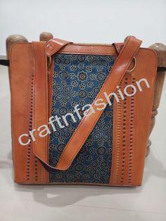 Handblock Printed Fabric Leather Shoulder Bag For Ladies. Fringe Handbags, Leather Handbags, Leather Bag, Mirror Work, Printed Bags, Fashion Bags, Leather Shoulder Bag, Printing On Fabric, Messenger Bag