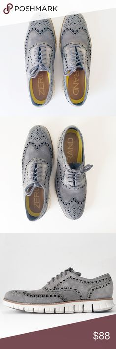 COLE HAAN ZERO GRAND wingtip oxfords shoes men 9.5 COLE HAAN zerogrand soft  suede, laser 7c95a35c7100