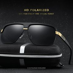 4 Colors HD Metal Men Polarized Driving Sunglasses Sports Mirrored Sun Glasses Eyewear Male With Box