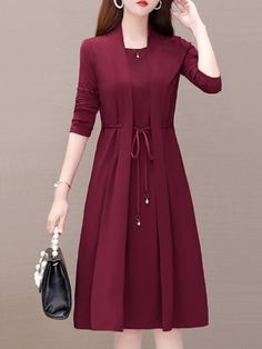 Women' A Line Dress Fashion Patchwork Two Layer Street Style Solid Color Tunic Dress Long Sleeve .Women' A Line Dress Fashion Patchwork Two Layer Street Style Solid Color Tunic Dress Long Sleeve Including The Belt Women's A Line Dresses, Modest Dresses, Simple Dresses, Pretty Dresses, Beautiful Dresses, Casual Dresses, Bride Dresses, Pretty Outfits, Cute Outfits