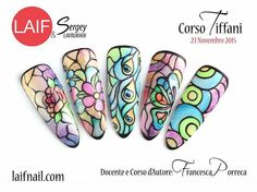 Beautiful stained glass style nails done with stamping & sheer nail polish such as OPI colors
