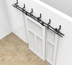6/6.6ft bypass sliding barn wood door closet door interior top mounted rustic black sliding barn door hardware