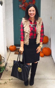 Buffalo plaid shirt, black pencil skirt, fur vest. Fall winter style outfit, ootd inspiration