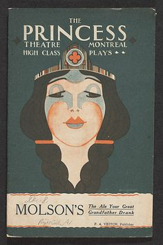 The cover of the theatre programme of the Princess Theatre, Montreal ca. 1928.
