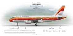 Airbus A319 American Airlines N742PS PSA Heritage Livery | www.aviaposter.com | Civil aircraft art print | #scetch #art #airliners #aviation #aviaposter #jetliner