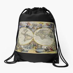 'vintage map of the world' Drawstring Bag by ModernFaces