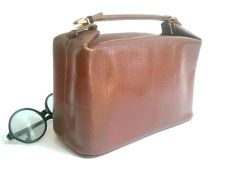 1950 french vanity brown leather / hermes style by lesclodettes, $75.00