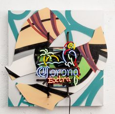 Available for sale from JoAnne Artman Gallery, CRASH, Corona (neon), Spray Paint and Neon, 25 × 25 × 5 in Museum Of Modern Art, Graffiti Art, Artsy, Vibrant, Neon, Gallery, Artwork, Painting, Smile