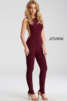 c0b7d27cabe6 Jovani 50905 Burgundy Jersey Jumpsuit with the sexy open back and sheer  panels.
