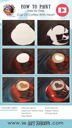 How to paint a red Coffee Cup with heart foam step by step Coffee Painting Canvas, Easy Canvas Painting, Diy Painting, Painting Tricks, Painting Tutorials, Art Tutorials, Acrylic Painting For Beginners, Step By Step Painting, Beginner Painting