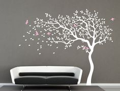 White Tree wall decal nursery wall decal baby girl by iWallDecals