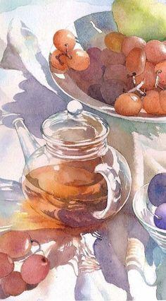 「水彩画 テラス」 福井良佑の水彩画ホームページ ~永久の旅と癒しの光を描く~ / 風景・花などの透明水彩画 / イラスト・挿絵 ・描き方・水彩教室など
