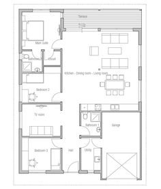 Small House Plan OZ5. Floor Plan from ConceptHome.com