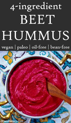 It is Paleo, vegan, oil-free, bean-free and only 42 calories per 2 tablespoon serving. You can roast beets, or go ultra-simple with ready-to-use roasted or canned beets. Beet Hummus, Vegan Hummus, Beet Salad, Paleo Vegan, Gluten Free Recipes For Breakfast, Paleo Recipes Easy, Vegetable Snacks, Roasted Beets, 4 Ingredients