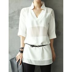 Stylish V-Neck Half Sleeves Solid Color Long Blouse For Women