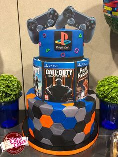37 best playstation cake images in 2016 13th Birthday Parties, 10th Birthday, Birthday Party Themes, Birthday Cake, Birthday Ideas, Video Game Cakes, Video Game Party, Video Games, Party Games