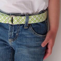 Cute Kids Belt, Handprinted Lime Green and Cream Linen, Durable, Easy D Ring Closure