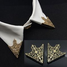 1Pair Golden Crown Triangle Stud Shirts Collar Neck Tip Lapel Brooch Pin Punk HG