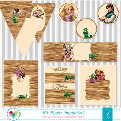 Kit festa para personalizar e imprimir no tema Enrolados Printable Party Rapunzel