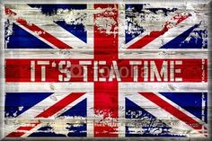 It´s Tea Time - Union Jack auf Holz - Vintage, Retro, Holz, Hintergrund, Tee - Fotolia