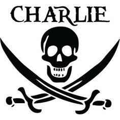 Personalized Pirate Name w/ Skull and Swords  MEDIUM by wallstickz, $16.95