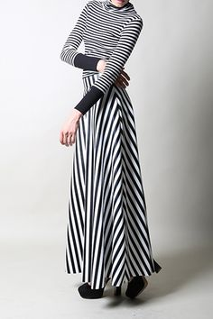 ShopBop : Dawn 11 Womens | Black and White Striped Maxi Skirt