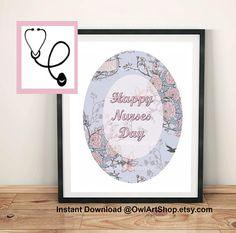 Nurses Day greeting, Nurses week, Card for a nurse, Floral & vintage pink, printable greeting, digital poster, instant download, last minute