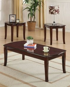 ACME 09301 3-PIECE CAMARILLO COFFEE/END TABLE SET, CHERRY FINISH   -Click image twice for more info - See a larger selection of coffee table sets at http://zcoffeetables.com/product-category/coffee-table-sets/ - home, home decor, home ideas, furniture, gift ideas,