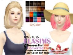 MAY Sims: Newsea`s hairstyle 06F converted by ELA - Sims 4 Hairs - http://sims4hairs.com/may-sims-newseas-hairstyle-06f-converted-by-ela/