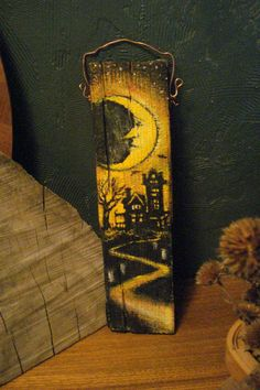 Primitive Halloween Folk Art Painting on by busterbeanknows, $25.00
