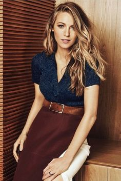 Skirt: top, blouse, blake lively, wavy hair, classy - Wheretoget