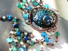 Peacock feather necklace   copper lampwork by CleopatraKerckhof, $198.00