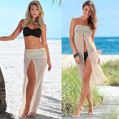 Abrigo de la playa vestido de alta calidad de ganchillo Beachwear mujeres traje de encaje Sexy limpie el pecho del Bikini Beach Cover up Holiday Beach Dress