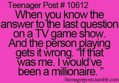 My frenemush loved watching game shows. Teen Posts, Teenager Posts, Best Quotes, Funny Quotes, The Last Question, Haha So True, Tv Show Games, Lolsotrue, I Love My Dad