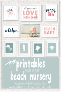 View our selection of FREE beautiful beach printables and beach themed art prints for your beach house, beach themed nursery or party. Beach Themed Crafts, Beach Crafts, Summer Crafts, Kid Crafts, Craft Projects, Beach Room, Beach Art, Blue Beach, Nursery Themes
