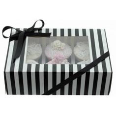 Boîte à cupcakes rayée noir/blanc avec insert pour 6 cupcakes