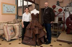 Chocolate maker Philippe Bernachon and designer Florencia Soerensen collaborate to create a chocolate dress  Credit picture: Bruno Vigneron/Getty Images