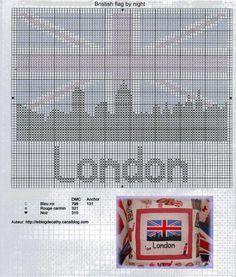 Free Union Jack London landscape cross stitch pattern #stitching