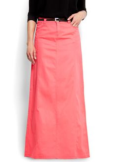 Long coral skirt. LOVE, LOVE this!! I want this!!