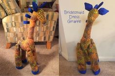 DIY Darlin: Bridesmaid Dress Giraffe, bridesmaid dress turned into stuffed animal for nursery one day