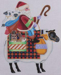 Brenda Stofft Designs Santa on Sheep Hand Painted Needlepoint Canvas #BrendaStofftDesigns