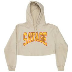 Savage Crop Pullover in Tan ($65) ❤ liked on Polyvore featuring tops, hoodies, shirts, shirt top, tan shirt, white shirt, cropped shirts and white pullover