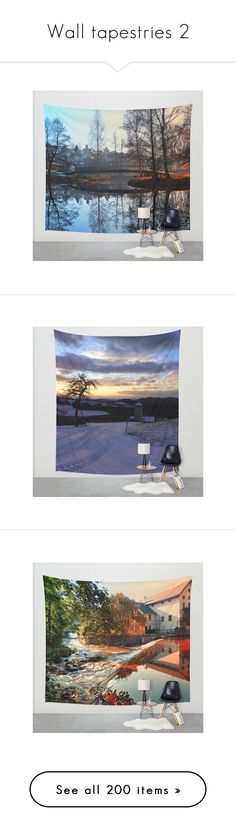 """Wall tapestries 2"" by patrick-jobst ❤ liked on Polyvore featuring home, home decor, wall art, photography wall art, mounted wall art, bridge wall art, photographic wall art, interior wall decor, sunset wall art and tree home decor"
