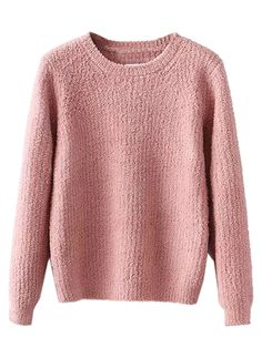 Pink Long Sleeve Knitted Sweater | abaday